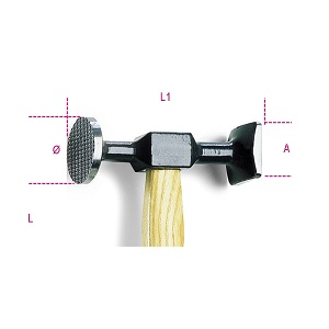 1357TZ/45 Hammers with flat, round, milled face and square, smooth face, wooden shafts