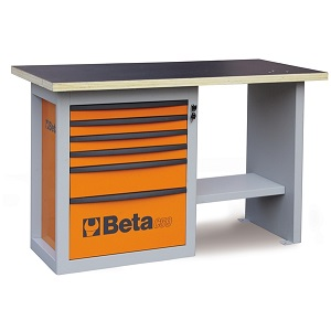 """C59C-5900C """"Endurance"""" workbench with 1 roller cab with six drawers, short model"""