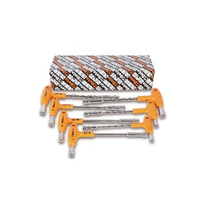 941/S7 Set of hexagon / bi-hex socket wrenches, with high torque handles