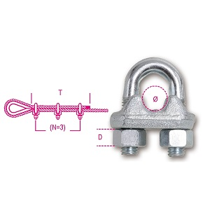8016DA Wire rope clips with high nuts, made from steel, galvanized