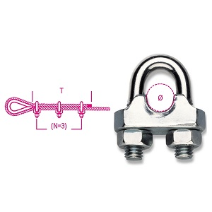 8016FR Wire rope clips, cold pressed steel body, galvanized