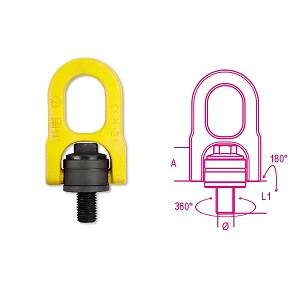 8049 Adjustable lifting eyebolts, double swivel ring, high-tensile alloy steel