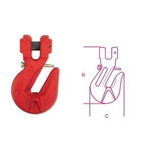 8061F Jaw grab hooks with safety lock, alloy steel, painted