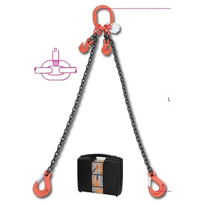 8097 Chain sling, 2 legs with grab hooks, in plastic case