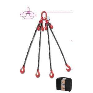 8098 Chain sling 4 legs with grab hooks, in plastic case