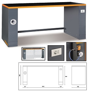 C55PRO B/2 Sheet metal bench, for garage furniture combination