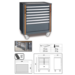 C55C7 Mobile roller cab with 7 drawers, for garage furniture combination