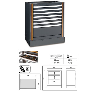 C55M7 Fixed module with 7 drawers, for garage furniture combination