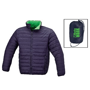 7685BL Bomber jacket with down-like padding, supplied in a convenient, room-saving bag
