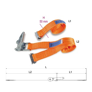 8182E Ratchet tie downs for van and truck interiors, LC 1000 kg, high-tenacity polyester (PES) belt