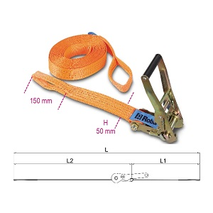 8182A Ratchet tie downs with 2 eyes, high-tenacity polyester (PES) belt LC 2000 kg