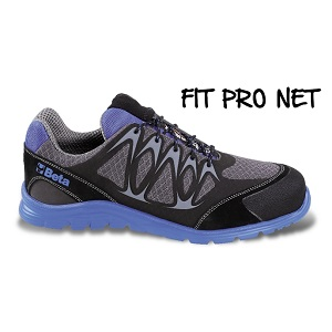 7340B Mesh fabric shoe, highly breathable, with high-frequency PU inserts and protective toe cap reinforcement made of crust suede