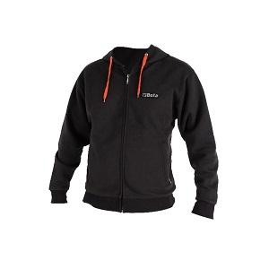 9507U Men's sweatshirt, made of CVC fleece fabric, 60% cotton and 40% polyester, with hood and long zip