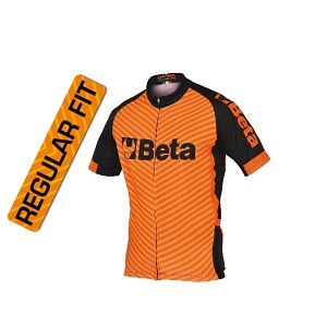 9542M Short-sleeved jersey, breathable microfibre fabric, long, covered zip, three rear pockets, including one with zip, silicone elastic at jersey end