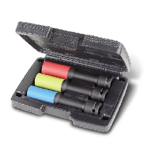 720LCL/C3 Set of 3 impact sockets for wheel nuts, long series, coloured, with polymeric inserts, in plastic case