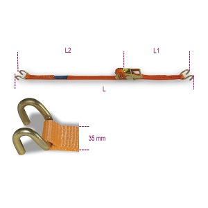 8181S Ratchet tie down with double hook, LC 1000kg, high-tenacity polyester (PES) belt