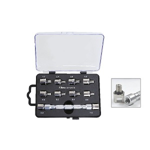3075/K10 Set with a universal wrench with interchangeable head and 10 bits, for tightening wheel spokes