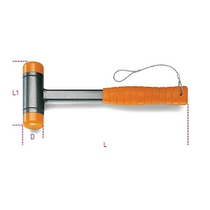 1392HS Dead-blow hammers with interchangeable plastic faces, steel shafts with H-SAFE tethered system