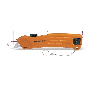 1772H-HS Safety utility knife with retractable blade, with H-SAFE tethered system