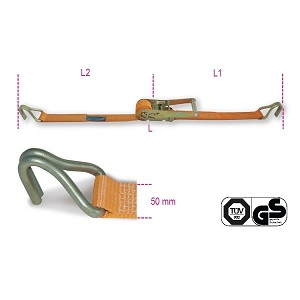 8182T Ratchet tie down with double hook, LC 1500kg, high-tenacity polyester (PES) belt