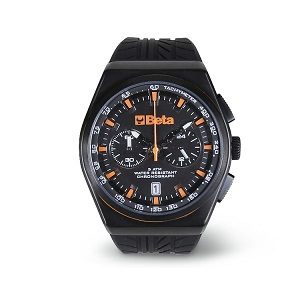 9593A Chronograph, steel case, 5 ATM water resistant, silicone strap