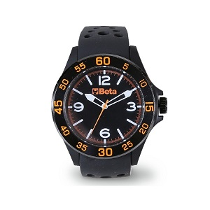 9593W Analogue watch, soft touch plastic case with metal ring, 3 ATM water resistant, silicone strap