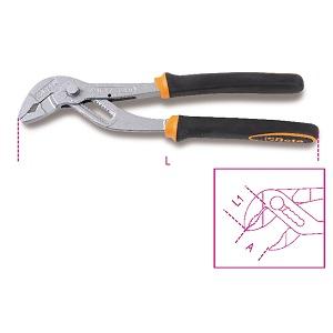 1047BM Slip joint pliers, push button adjustment, bimaterial handles