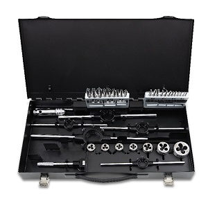 447/C37 Assortment of hss taps and dies, metric thread, and accessories