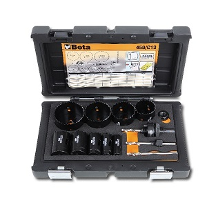 450/C13 Assortment of holesaws and accessories for installers