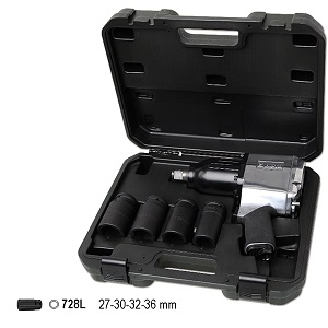 """1928K4 Set of 3/4"""" Reversible impact wrench and 4 impact sockets, long series"""