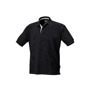 7546N Three button polo shirt, pique cotton Black