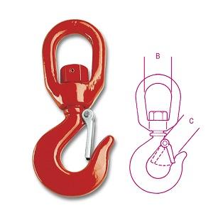 8064S Carbon steel swivel hooks, hardened and tempered, varnished