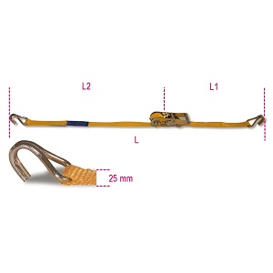 8180 Ratchet tie down with single hook, 750kg