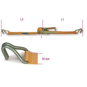 8182 Ratchet tie down with single hook, 2000kg